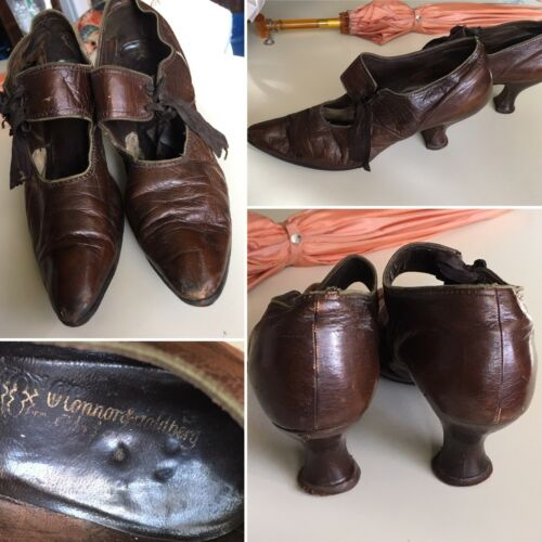 Antique 1890s Victorian High Heel Leather Shoes By