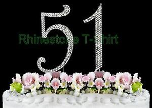 Image Is Loading Large Rhinestone NUMBER 51 Cake Topper 51th Birthday