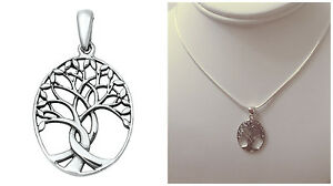 925-Sterling-Silver-25MM-034-TREE-OF-LIFE-034-PENDANT-WITH-SNAKE-CHAIN-NECKLACE-16-034