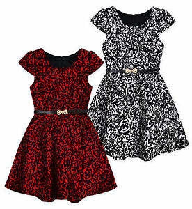 Girls Christmas Dress New Kids Long Sleeved Skater Dresses Age 2-3 3-4 4-5 Years