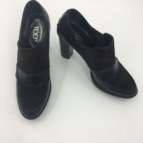 Tods Black/brown Suede/leather Heels Size 38.5