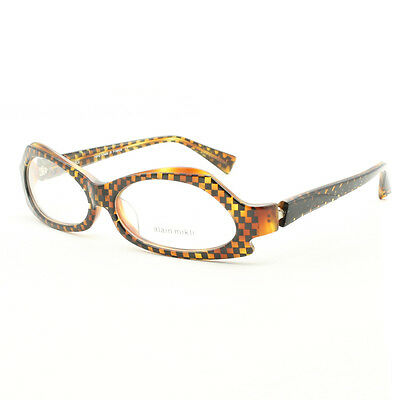 Alain Mikli AL 1019 Womens Eyeglasses 05 Brown Black Checkered Frame Clear Lens