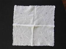 "RARE VINTAGE 1920'S-1940'S WHITE COTTON HAND EMBROIDERED HANDKERCHIEF 11"" X 11"""