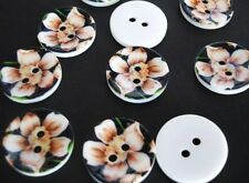 10 Hand Painted Plastic Sewing Button/trim/floral/flower/2 hole-Black Daisy Sb45