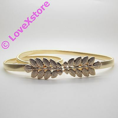 Women Gold Color Double Leaves Metal Stretch Belt Lady Waistband Elastic Waist