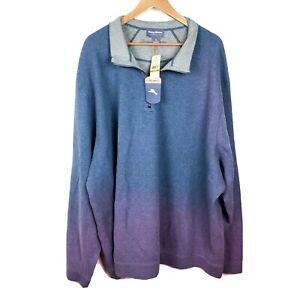 Tommy-Bahama-1-4-Zip-Reversible-Blue-Gray-Sweater-Men-039-s-Size-4XB-NWT
