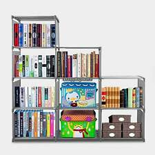 Adjustable 9 Shelf Metal Bookcase Storage Shelving Book Wide Bookshelf Furniture
