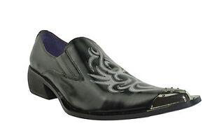Classic Sayer Shoes Black Gucinari Men Cap Toe Pointed White Leather Steel qSFSpwICx