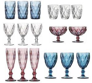 6X-SYROS-LINE-Vintage-sundae-tumblers-flutes-wine-Glasses-Bowls-PINK-BLUE-CLEAR