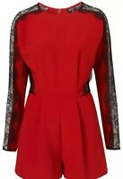 Topshop Red Black Lace Trim Long Sleeve Playsuit Jumpsuit Romper Dress 12 8 40 M