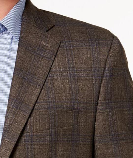 Lauren Ralph Lauren Blazer Größe 38R Men Suit Light Braun Blau Windowpane Plaids