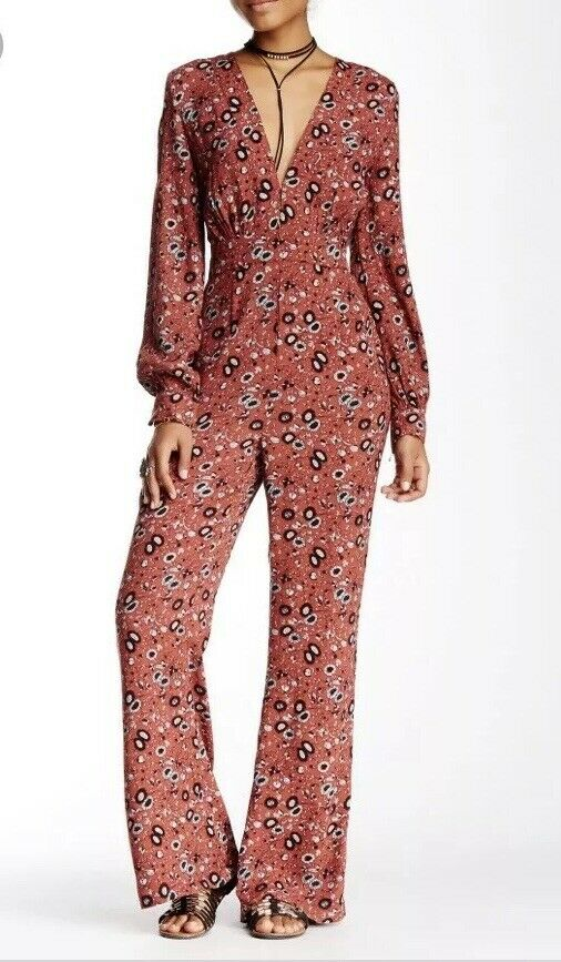 Free People Lisa Some Like It Hot Jumpsuit Printed Rust Combo 2 XS  NWT