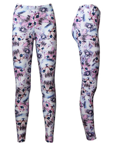 Cute Kawaii Kitty Cat Kittens With Paw Glasses Bow Alternative Printed Leggings