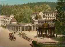 Böhmen. Marienbad. Der Kreuzbrunnen. PZ vintage photochromie, photochrom photo