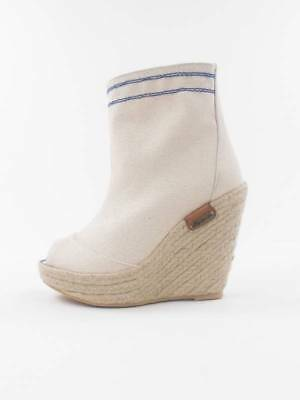 248605e7eb5f Pepe Jeans Ankle Boots Wedges Shoes irn-250 a White Wedge Heel Canvas   eBay