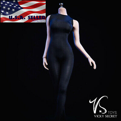 1//6 Women Black Slim Tights Stretch Suit Sleeveless For PHICEN Hot Toys ☆USA☆