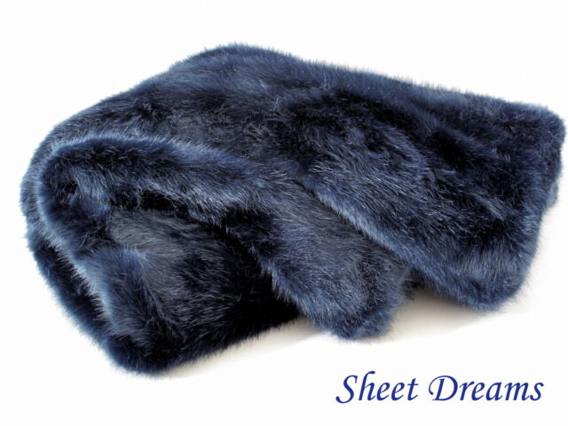 Nicole Miller Midnight Blue Solid Faux Fur Long Pile Opulent Throw Blanket New