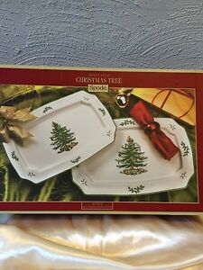 Christmas Platter Plates.Details About Spode Christmas Tree Rectangular Serving Plates Dish Platters Set Of 2 Nib