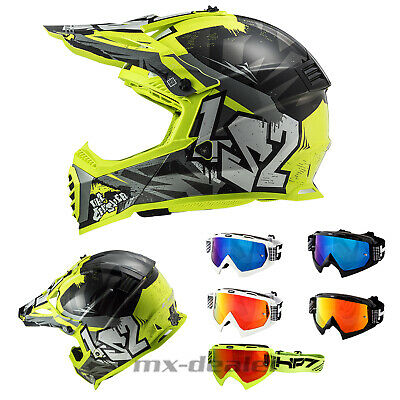 Hp7 MX Lunettes Crossbrille Fluo Yellow Bleu Miroir Motocross Enduro HP 7 MX