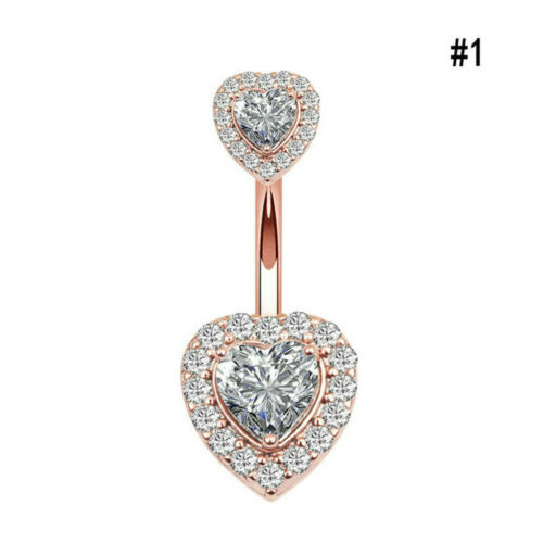 Beauty Crystal Heart Dangle Navel Belly Button Ring Body Piercing Jewelry Gift