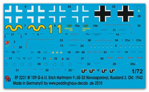 Peddinghaus-Decals 1//72 2231 Bf 109 G-6 Lt Erich Hartmann9.//JG 52 Novosaporovyi