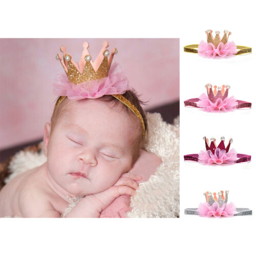 Kids Girl Baby Toddler Shiny Crown Headband Princess Hair Clip Lace Hair BandkYH