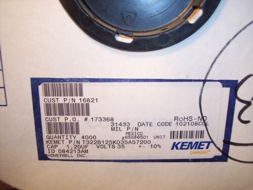 """QTY 50 1.2uf 35V 10/% AXIAL /""""BULLET/"""" TANTALUM CAPACITORS T322B125K035AS KEMET"""