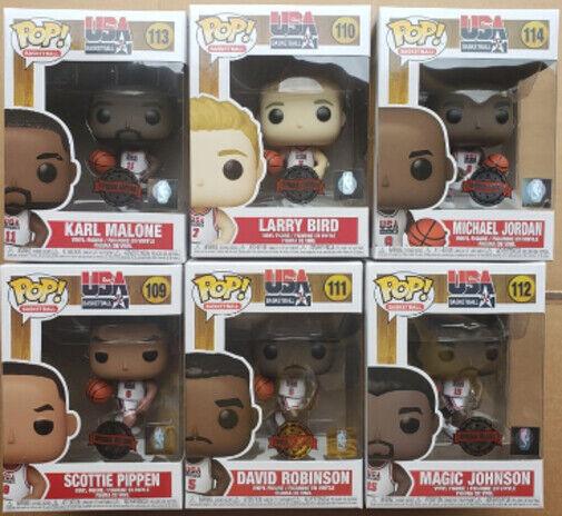 Funko Pop NBA Basketball Team USA Set Pippen Bird Robinson Malone Johnson Jordan
