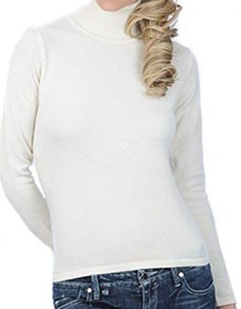 Balldiri 100% Cashmere Damen Pullover Rollkragen ohne Bündchen ecru S