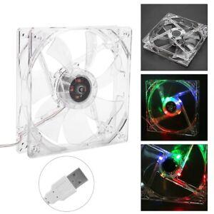 USB 120mm Clear PC Computer Case 4-LEDs Light 7-Blade CPU Cooling Fan Cooler 5V