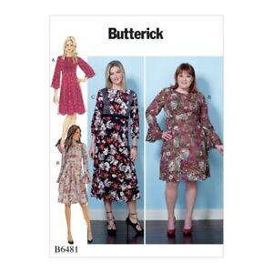 Butterick Sewing Pattern 6481 misses/'S Vestido con opciones de conjunto-en la Cintura Corpiño