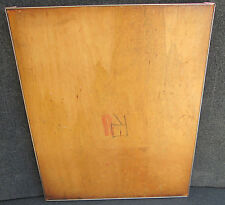 """ANTIQUE BOOK PRESS BOARD W/ METAL BANDED EDGE REPURPOSED TABLE TOP 19"""" X 26 1/4"""""""