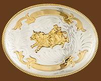 Western Rodeo German Silver & Gold Bull Riding Trophy Belt Buckle 5 X 3 3/4