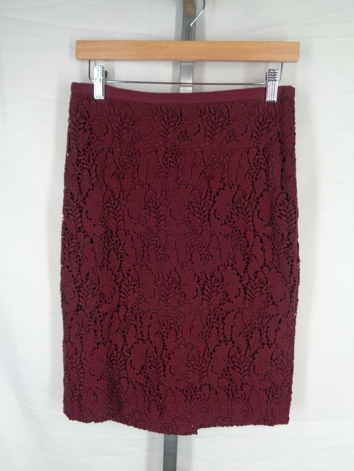 Talbots Skirt Size 2 Burgundy Crochet Straight Pencil New