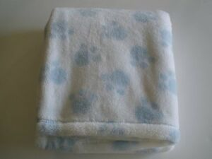 Baby Gear White And Blue Puppy Dog Kitty Cat Paw Print Fleece Plush Baby Blanket