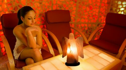 ANGEL Shape Himalayan Crystal Pink Red Salt Lamp Ionising Healing Theuropatic
