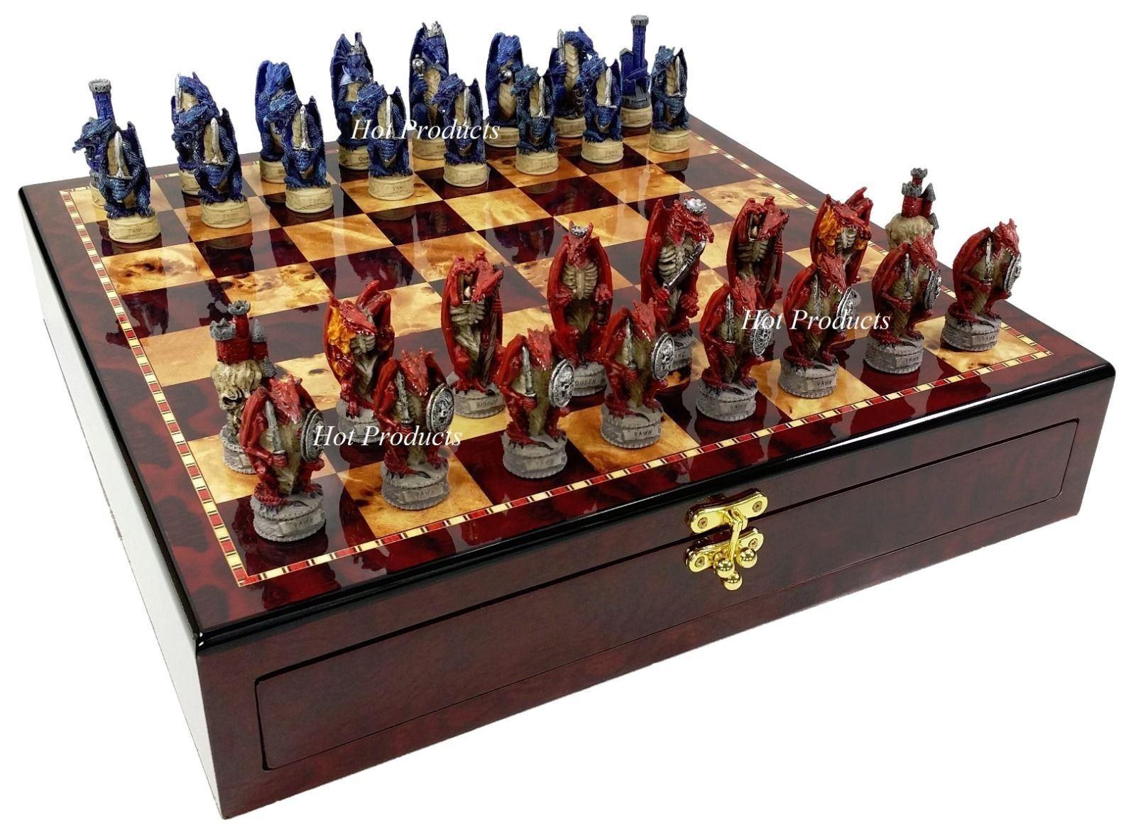 Medieval Dragon Fantasy rouge & bleu Chess Set W Gloss  Cherry Couleur STORAGE Board  autorisation officielle