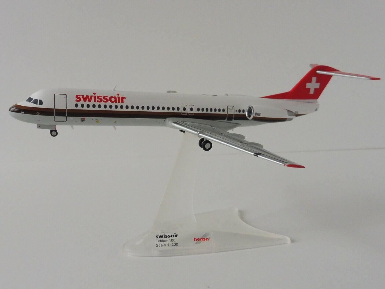 Fokker 100 Swissair 1 200 Herpa 559386 Swiss Airlines HB-IV bis Aarau