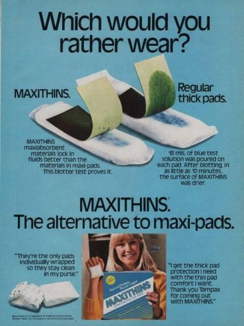 1984 Maxithins Napkins Maxi Pads Vintage PRINT AD Feminine Protection Advert
