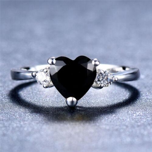 925 Cœur Argent Coupe Multi-Couleur Saphir Zircone cubique Fiançailles Anneau Mariage pour les femmes