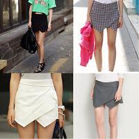 Fashion Womens Wrap Mini Skort Skirt Irregular Laminated Flanging Short Culottes