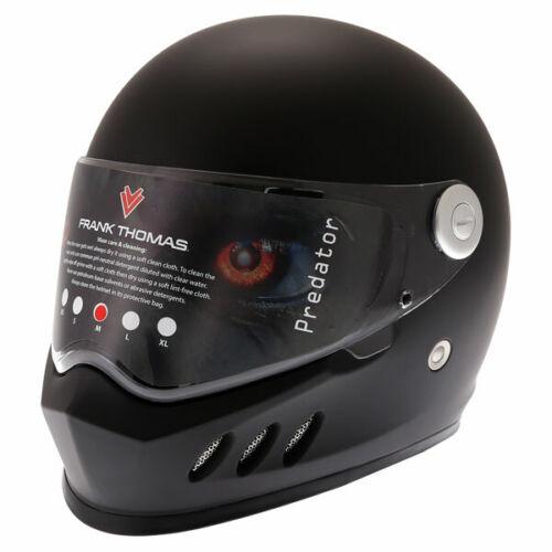 Frank Thomas FT833 Predator Full Face Motorcycle Helmet Street Matt Black J/&S