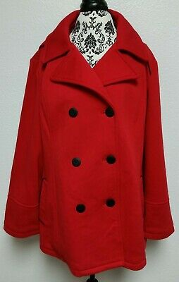 Apt 9 Red Button Up Pea Coat Size 2x Plus Size New With Out Tags Nwot Ebay
