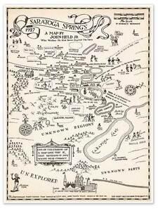 Saratoga New York Map.City Of Saratoga Springs New York Map Circa 1927 18 X 24 Art