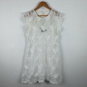 Zara-Dress-Womens-Size-L-White-Floral-Lace-Flutter-Short-Sleeve-Round-Neck-Slip