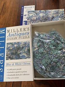 Miller-039-s-Antiques-Bleu-Blanc-Chine-1000-Piece-Jigsaw-Puzzle-complet-en-boite-tres-bon-etat