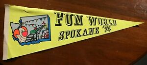Vintage 70s Fun World Spokane Washington Pennant Souvenir Amusement Park Expo 74