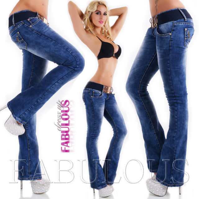 New Sexy Women's Boot Cut Jeans Size 10 12 14 6 8 XS S M L XL Hot Bootleg
