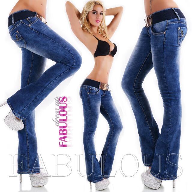 New Sexy Women's Boot Cut Jeans Size 10 12 14 6 8 XS S M L XL Hot Bootleg