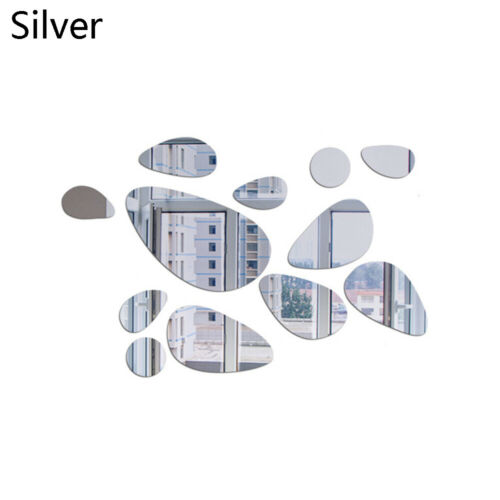 Modern Style Vinyl Mural Art 3D Pebble Decals Wall Stickers Mirror Surface